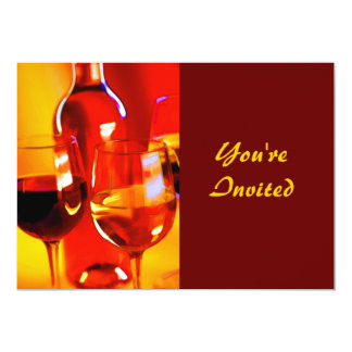 """Abstract Bottle of Wine and Glasses 5"""" X 7"""" Invitation Card"""