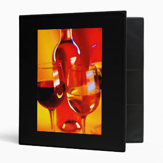 Abstract Bottle of Wine and Glasses of Red and Whi 3 Ring Binder
