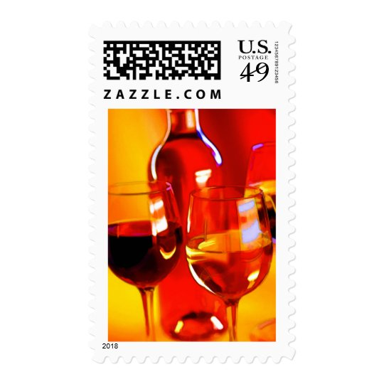 Abstract Bottle of Wine and Glasses of Red and Whi Postage