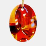 Abstract Bottle of Wine and Glasses Ornaments
