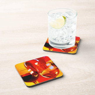 Abstract Bottle of Wine & Glasses Coaster