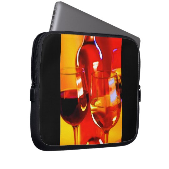 Abstract Bottle of Wine & Glasses Laptop Sleeve