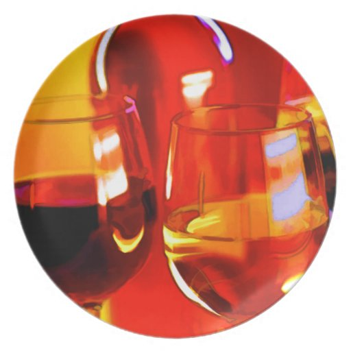 Abstract Bottle of Wine & Glasses Plates
