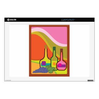 """Abstract bottles and grapes decals for 17"""" laptops"""