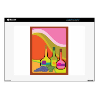Abstract bottles and grapes decals for laptops