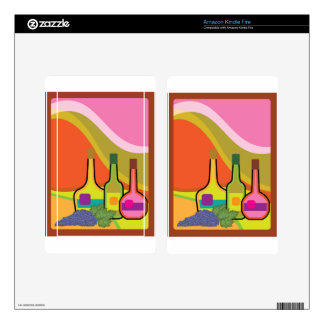 Abstract bottles and grapes kindle fire skin