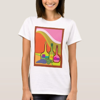 Abstract bottles and grapes T-Shirt