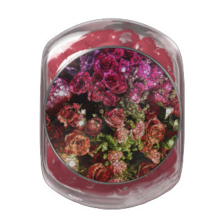 Abstract Bouquet of Flowers Glass Jar