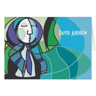 Abstract Boy Tallis Bar Mitzvah thank you card