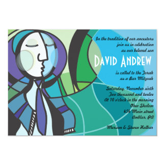 Abstract Boy with Tallis Bar Mitzvah Invitation