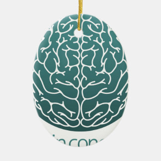Abstract brain circle ceramic ornament