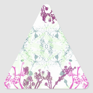 Abstract branches in mint green and plum purple triangle sticker