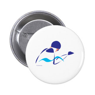 Abstract Breaststroke 1 2 Inch Round Button