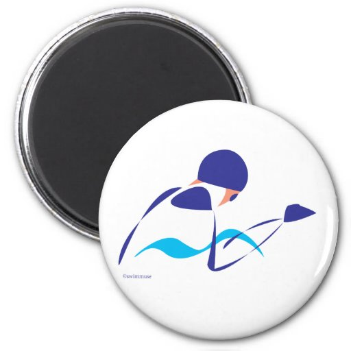 Abstract Breaststroke 1 2 Inch Round Magnet