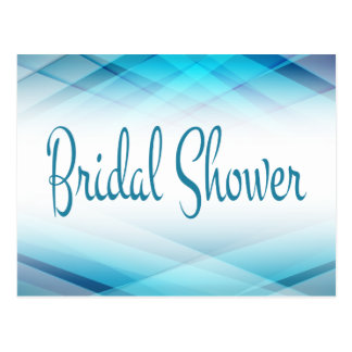 Abstract Bridal Shower Blue And White Invitation Postcard