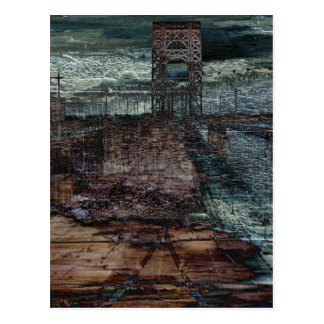 Abstract Bridge Destroyed End of Days Postcard