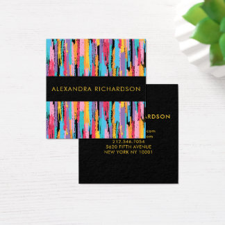 Abstract Bright Crayon Colors with Black Square Business Card