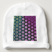 Abstract bright floral pink pattern No12 Baby Beanie