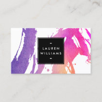 Abstract Bright Neon Watercolor Brushstrokes Business Card