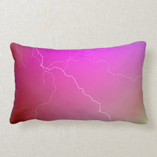 Abstract Bright Pink Neon Lightning Image. Lumbar Pillow