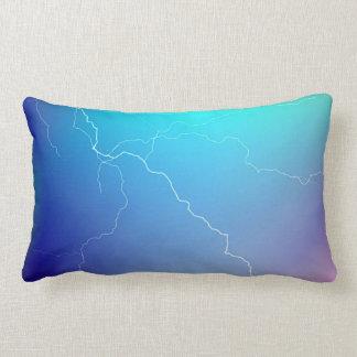 Abstract Bright Teal Pink Neon Lightning Image. Lumbar Pillow