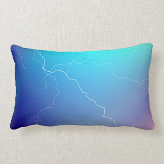 Abstract Bright Teal Pink Neon Lightning Image. Throw Pillow