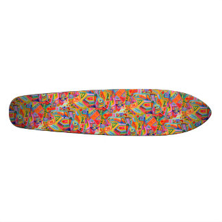 Abstract bright watercolor geometric pattern skateboard