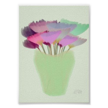 Art Themed Abstract Bright Watercolor Peony in Vase Print