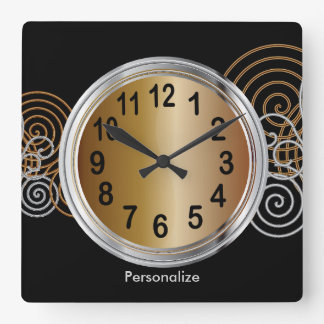 Abstract Bronze and Silver Metallic Design Square Wall Clock