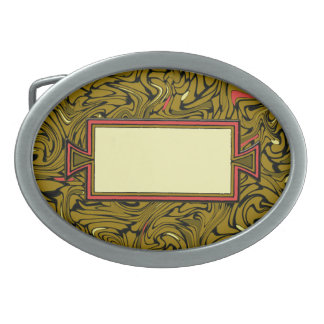 Abstract Bronze Baroque Pattern with Yellow & Red Oval Belt Buckle