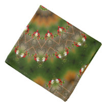 Abstract Brown And Green Kaleidoscope Pattern Bandana