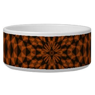 Abstract brown dark pattern dog water bowl