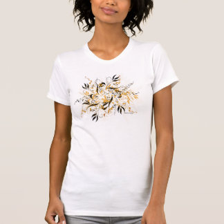 Abstract Brown Floral Tee Shirt