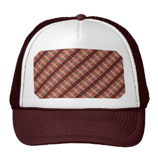 Abstract Brown Geometric Art Pattern Mesh Hat
