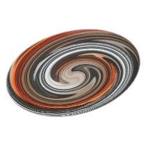 Abstract Brown Orange Gray Swirl Pattern Dinner Plate