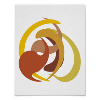 Abstract Brown Yellow Shapes Poster