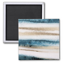 Abstract Brushed Paint Blue and Faux Gold Magnet