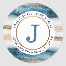 Abstract Brushed Paint Blue and Faux Gold Monogram Classic Round Sticker