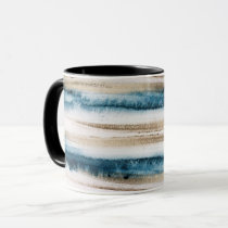 Abstract Brushed Paint Blue and Faux Gold Mug