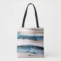 Abstract Brushed Paint Blue and Faux Gold Tote Bag