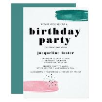 Abstract Brushstroke Birthday Party Invite