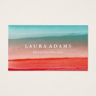 Business Cards - Abstract Brushstrokes Red Turquoise Business Card