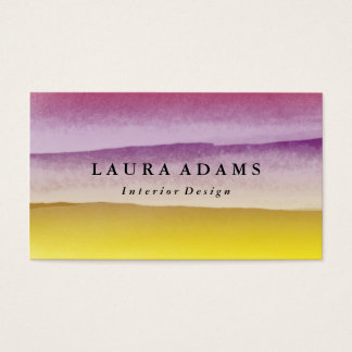 Abstract Brushstrokes Violet Yellow Business Card