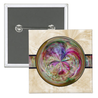 Abstract Bubble Mandala With Ribbon 2 Inch Square Button