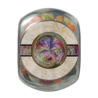 Abstract Bubble Mandala With Ribbon Glass Jar
