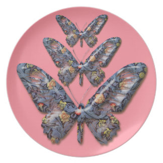 Abstract Butterflies on cerise dinner plate