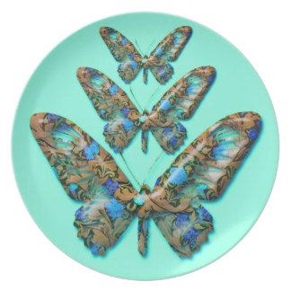 Abstract Butterflies on teal green dinner plate