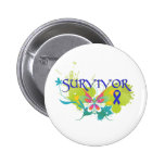 Abstract Butterfly Colon Cancer Survivor Buttons