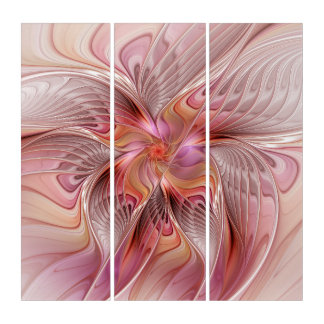 Abstract Butterfly Colorful Fantasy Fractal Art Triptych