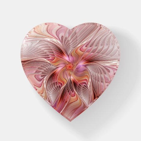 Abstract Butterfly Colorful Fantasy Fractal Heart Paperweight